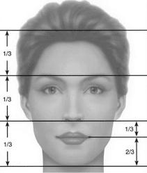 Schéma des proportions verticales de la face - Dr Chardain Nogent-sur-Marne